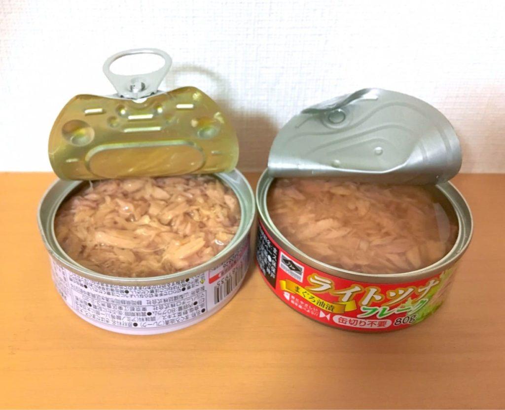 比較中身ツナ缶